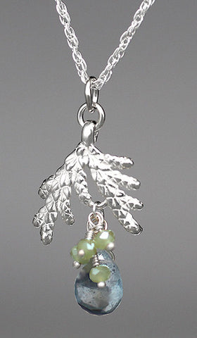 Silver Cedar with Aquamarine Necklace - Nature Jewelry