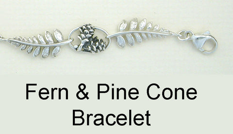 Sterling Silver Fern and Pine Cone Bracelet close up view