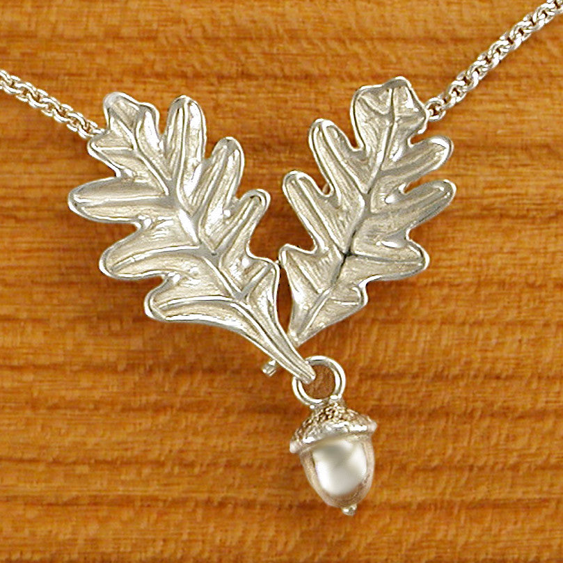 Sterling Double Oak Leaves with Acorn Pendant