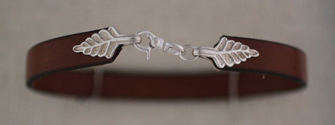 Leather Bracelet with Sterling Silver Fern Clasp