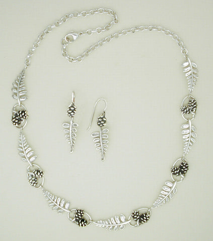 Sterling Fern and Pine Cone Jewelry