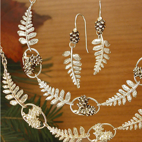 Sterling Silver Fern and Pine Cone Jewelry