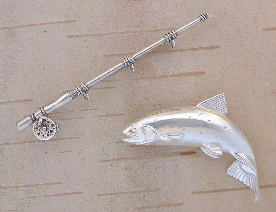 Angler Gift - Sterling Fly Rod and Trout Pin
