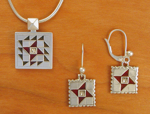 Friendship Star Quilt Jewelry - enameled sterling silver