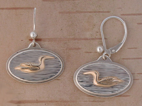 Gold Loon Earrings on Sterling Silver