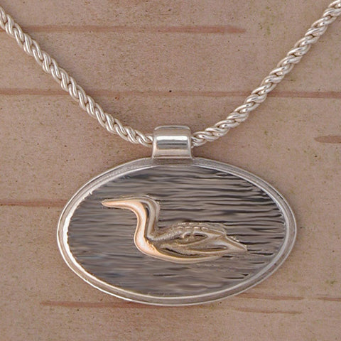 14k Gold Loon on Shimmering Water Necklace - Sterling Silver