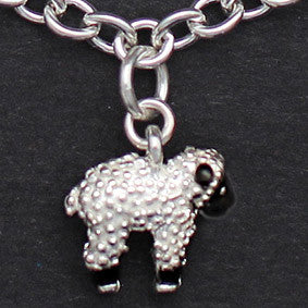 Sterling Lamb Charm - enameled face & legs