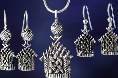 Knitting Jewelry - sterling silver