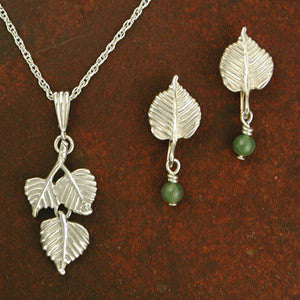 Aspen Leaf Earrings, Necklace - sterling silver
