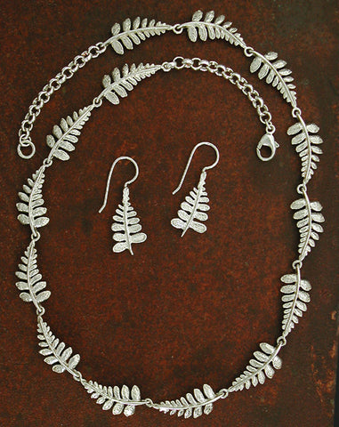 Fern Necklace & Earrings - sterling silver
