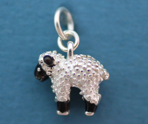 Lamb Charm - enameled sterling silver