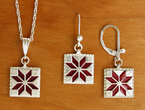 Lemoyne Star Quilt Jewelry - enameled sterling silver
