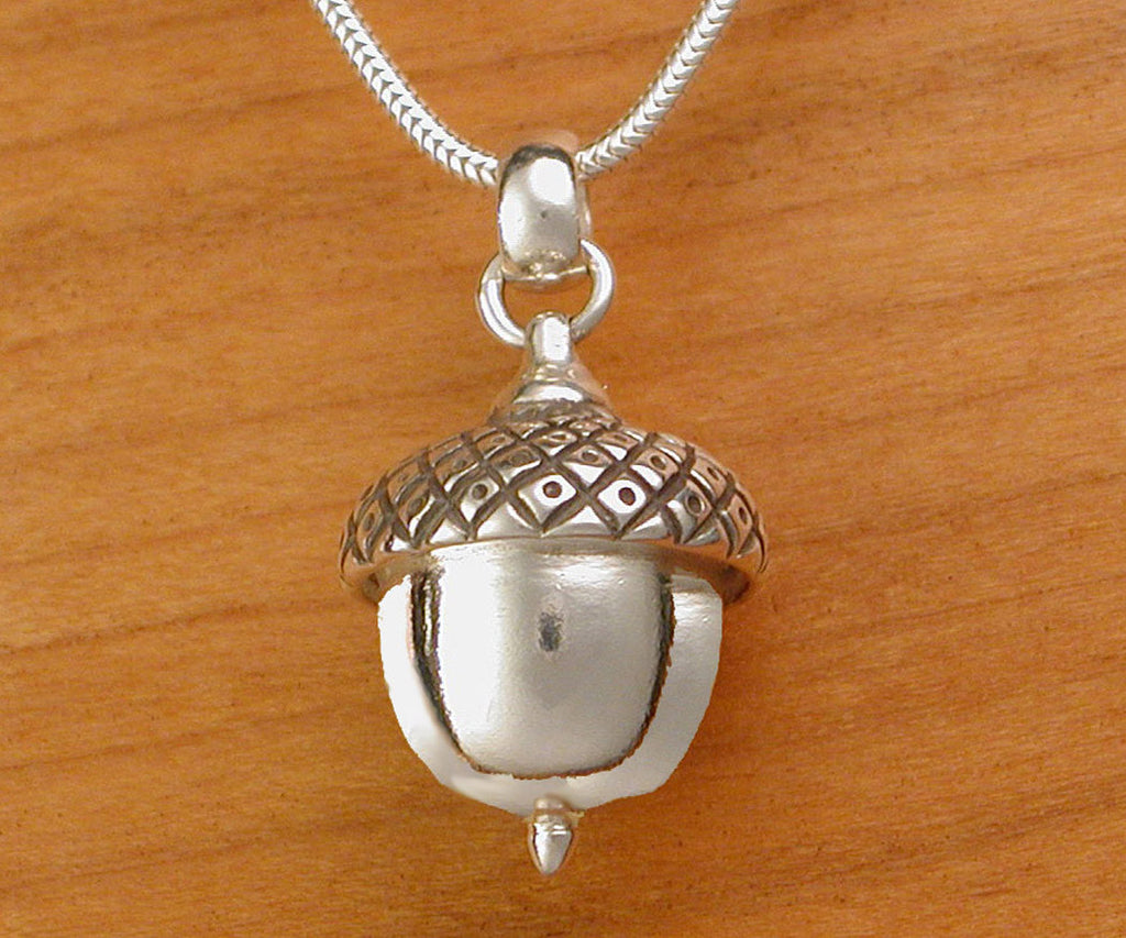 amber silver and necklace sterling acorn pendant