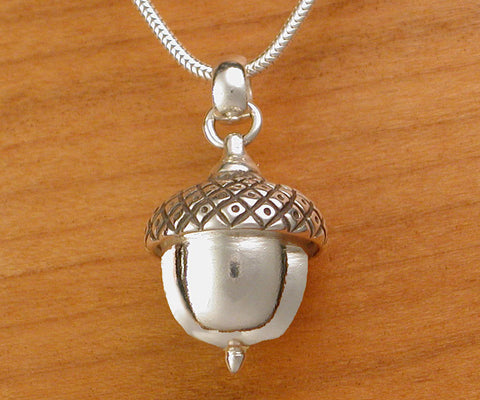 Large Acorn Pendant / Necklace - sterling silver