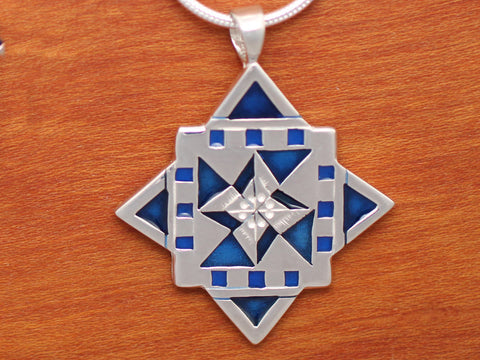 Lg North Star Quilt Necklace - enameled sterling silver