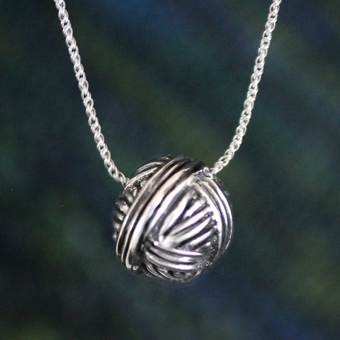 Lg Ball of Yarn Necklace -- sterling silver