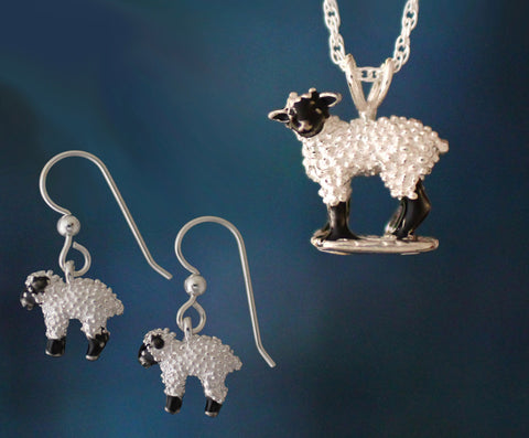 Lambkin Earrings & Ewe Necklace - enameled sterling silver