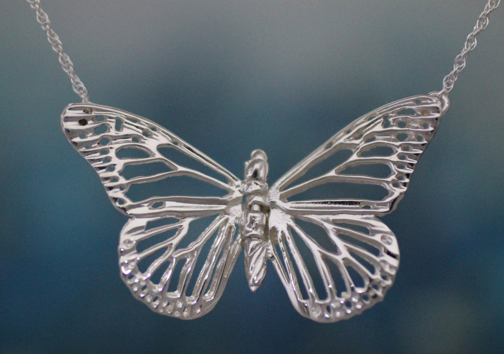 Monarch Butterfly Necklace - sterling silver