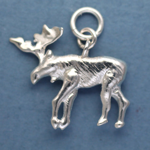 Sterling Moose Charm