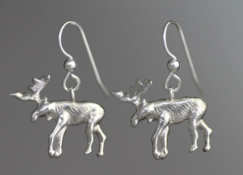 Silver Moose Earrings