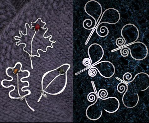 Leaf Shawl Pins, Ram's Head Shawl Pins