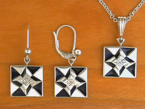 North Star Quilt Jewelry - enameled sterling silver