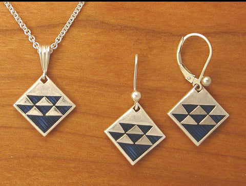 North Wind Quilt Jewelry - enameled sterling silver