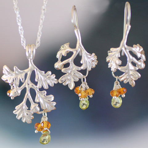 Oak Bough with Gemstones Jewelry - sterling silver