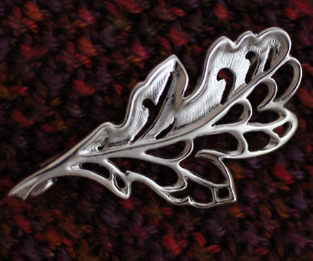 Oak Leaf Shawl Pin - solid sterling silver