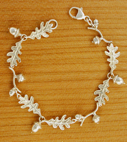 Oak Leaf with Acorn Bracelet - sterling silver
