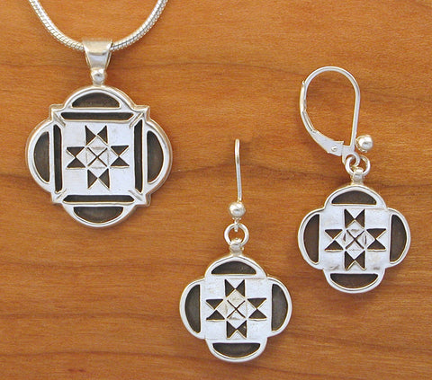 Scalloped Ohio Quilt Jewelry - enameled sterling silver