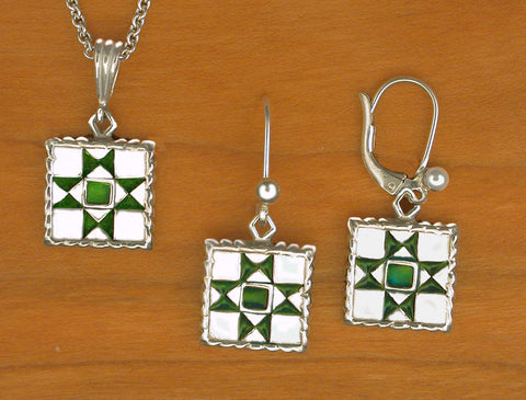 Ohio Star Quilt Jewelry - enameled sterling silver