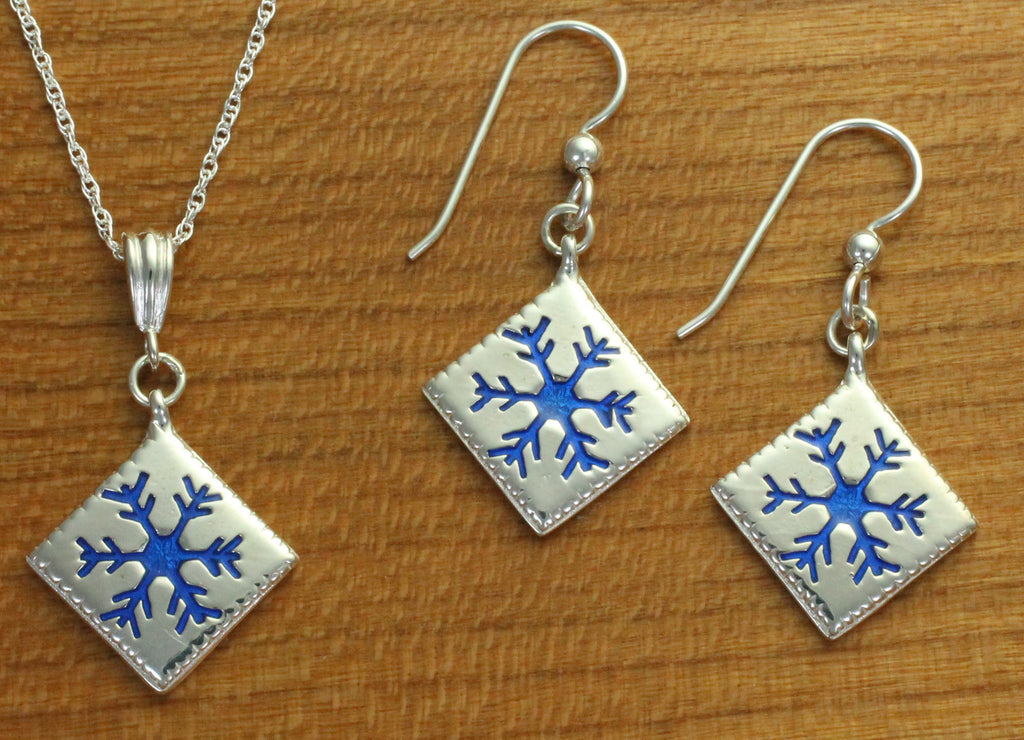 Snowflake Quilt Jewelry - Enameled Sterling Silver