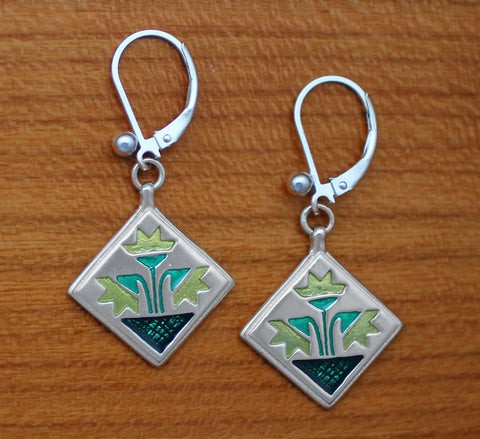 Carolina Lily Quilt - Enameled Sterling Lever-back Earrings