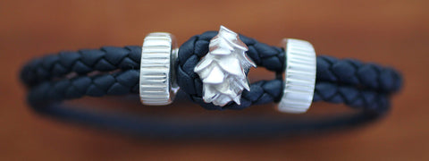 Sterling Silver Pine Cone with Blue Braided Leather