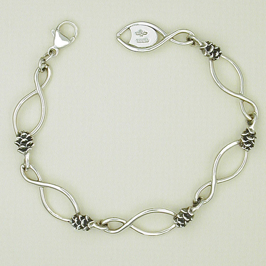 Sterling Silver Pine Cone with Figure 8 Bracelet