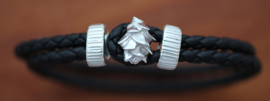 Sterling Silver Pine Cone with Black Braided Leather