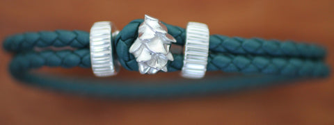 Sterling Silver Pine Cone with Green Braided Leather Bracelet