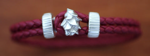 Sterling Silver Pine Cone with Red Braided Leather Bracelet