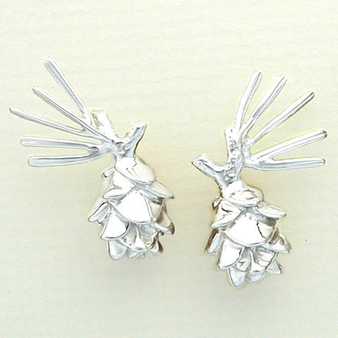 Pine Cone with Spray Earrings - Sterling Silver, 14k posts