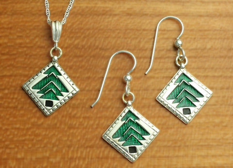 Pine Tree Quilt Jewelry - enameled sterling silver