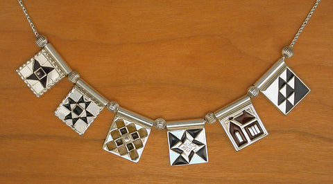 Sampler Quilt Necklace - enameled sterling silver
