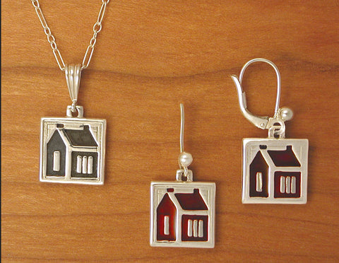 School House Quilt Jewelry - enameled sterling silver
