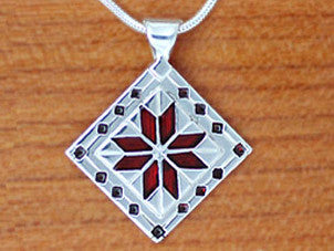 Eight Pointed Star Quilt Necklace - enameled sterling silver