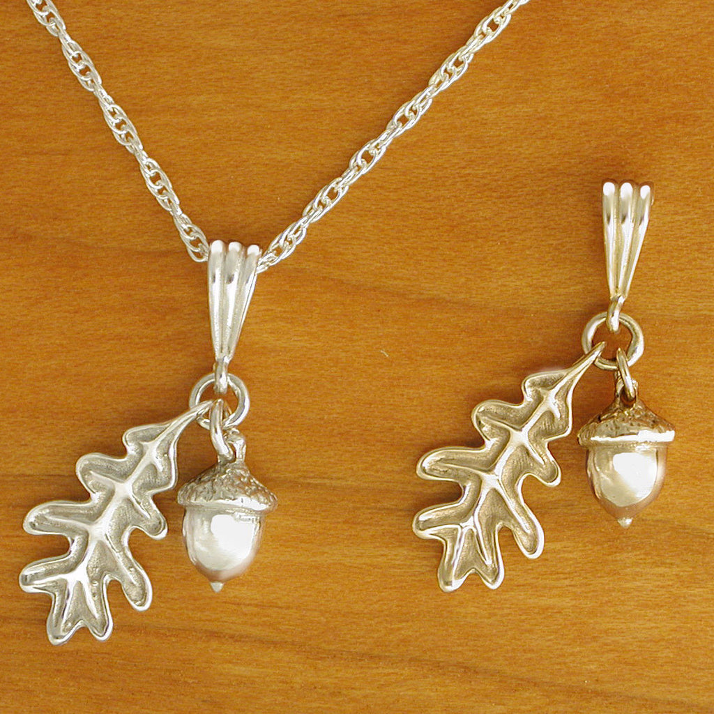 sterling silver 14kt gold Acorn Necklace Oak Leaf