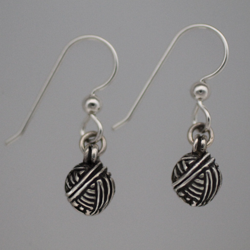 Yarn Ball Earrings - sterling silver