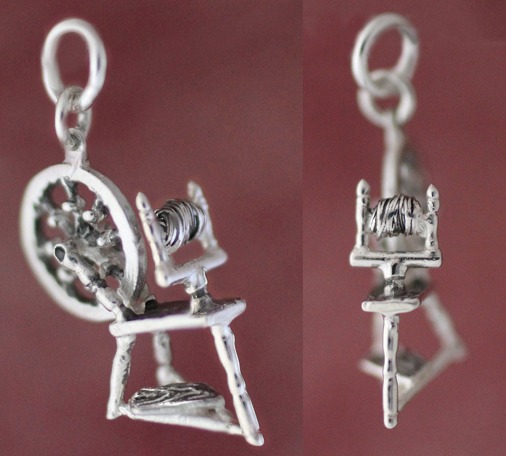 Spinning Wheel Charm front view