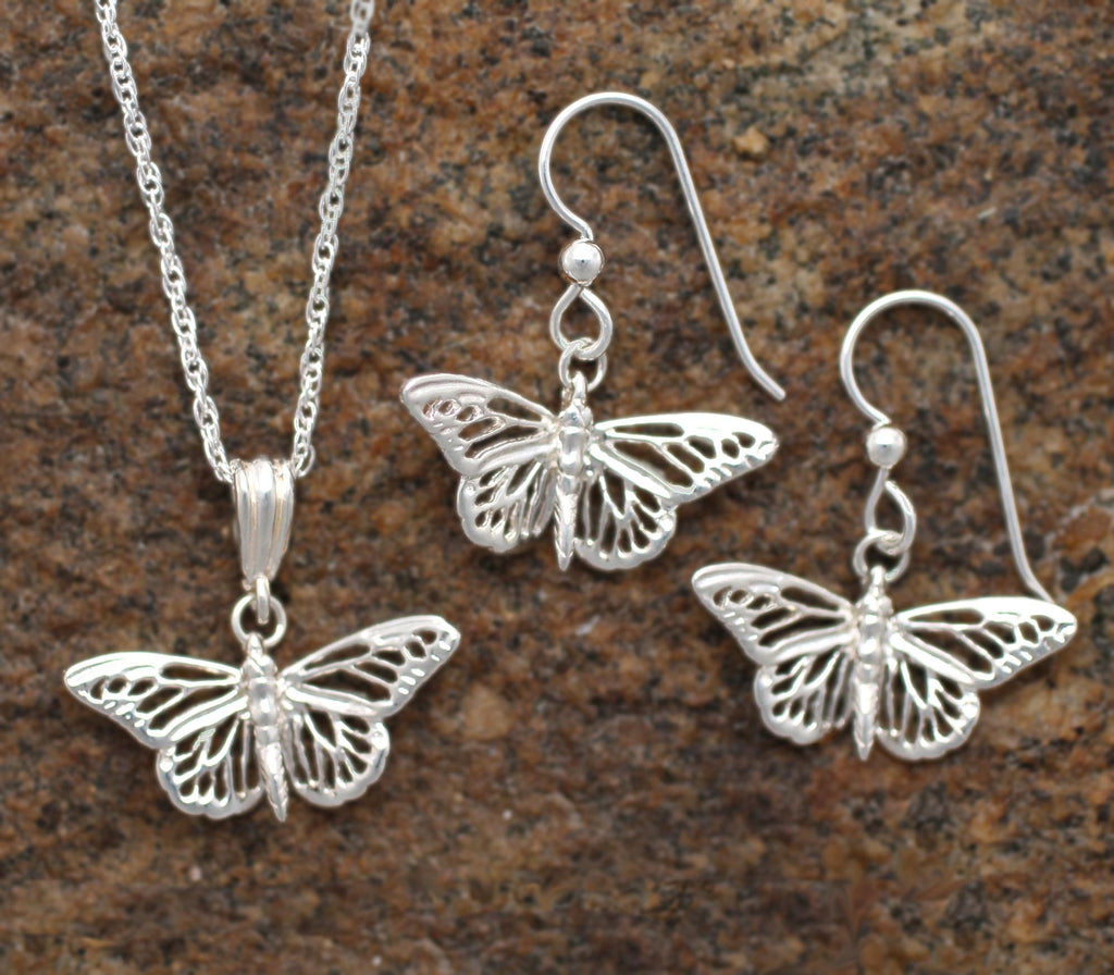 Silver Butterfly Necklace and Earrings