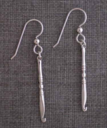 Crochet Hook Earrings - sterling silver