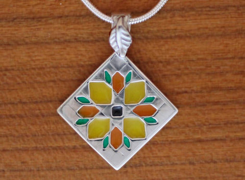 enameled sterling Sunflower Quilt Necklace